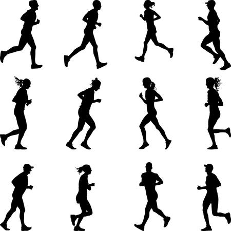 Gruppe von zwölf Männern und Frauen Läufer Silhouette Vektor