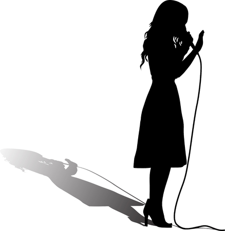 girl as a singer with microphone silhouette