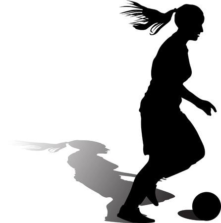 woman soccer player. girl soccer silhouette Illusztráció