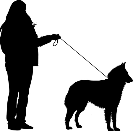 dog and the owner of the competition took a pose silhouette vector