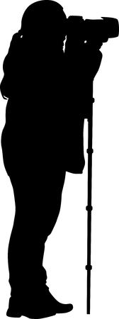 photographer with monopod silhouette vector