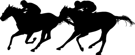 two horses in the finish of a horse race silhouette vector