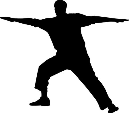man practice for the spirit and the body silhouette vector