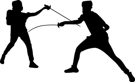 fencing. two man fencing in the competition silhouette vector Illusztráció