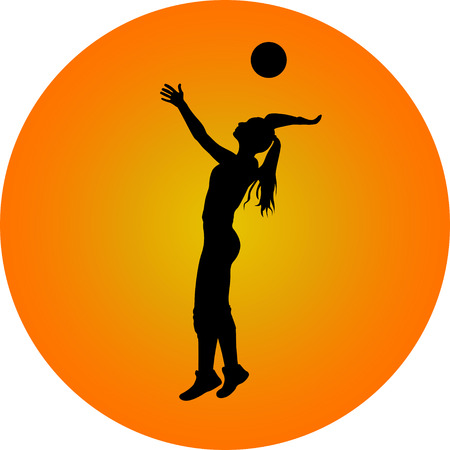 girl plays volleyball silhouette vector web icon gradient