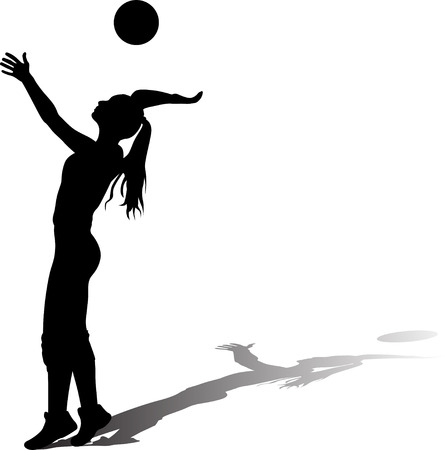 girl plays volleyball silhouette vector with shadow