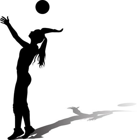 girl plays volleyball silhouette vector with shadow Ilustración de vector