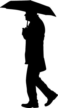 man with umbrella silhouette vector