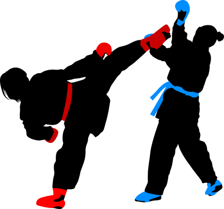 girls fight in karate silhouette vector color