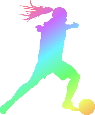 girl with a ball plays soccer. woman soccer player vector color