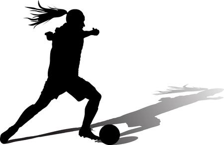 girl with a ball play soccer. woman soccer player silhouette vector with shadow Illusztráció