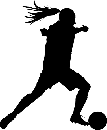 girl with a ball play soccer. woman soccer player silhouette vector