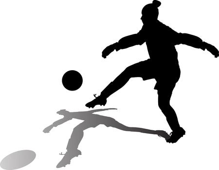soccer goalkeeper girl hits the ball. football goalkeeper woman silhouette vector