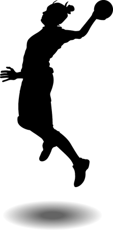 handball woman player jumping in attack with a ball silhouette vector
