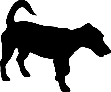 small black dog silhouette vector