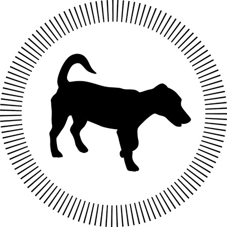 dog web icon silhouette vector with circle around