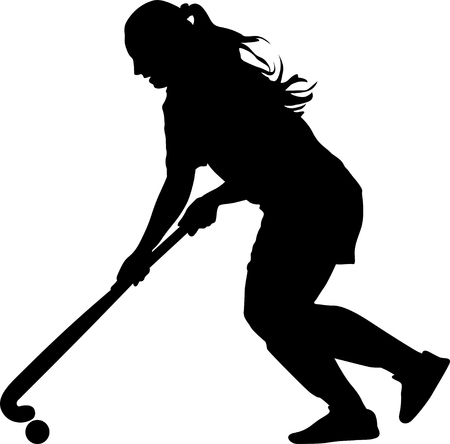 girl play field hockey silhouette vector
