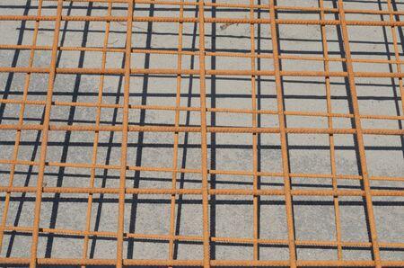 steel rebar for reinforcement concrete at construction site Éditoriale
