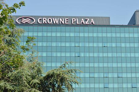 Belgrade, Serbia - Jun 9, 2019 - A view of Crowne Plaza building located in Belgrade, New Belgrade Publikacyjne