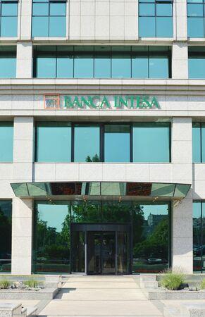 BELGRADE, SERBIA - JUN 9, 2019: Entrance of the Bank Intesa in Belgrade, in the New Belgrade