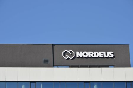BELGRADE, SERBIA - JUN 16, 2019: Nordeus building and logo on their company headquarters in Belgrade, Serbia. Nordeus is a Serbian IT company that makes games and one of the most popular game is