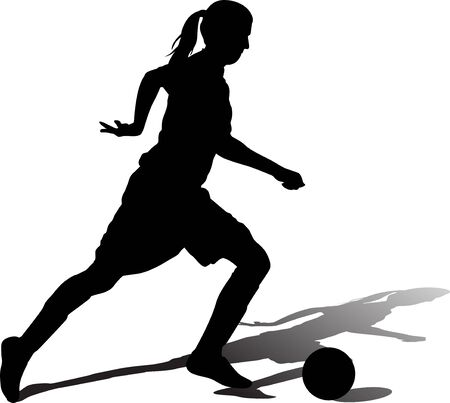 woman with a ball play soccer silhouette vector