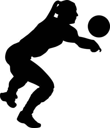 volleyball girl player. women group play volleyball Illusztráció
