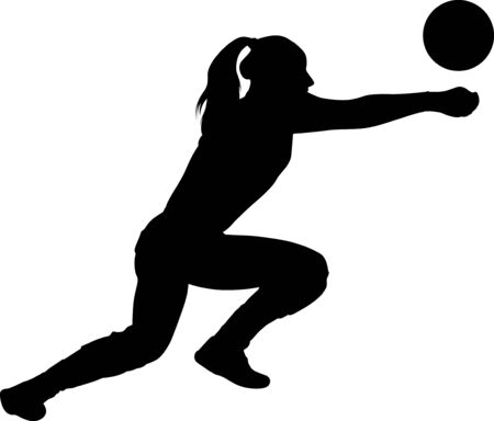 volleyball girl player. women group play volleyball  Illustration