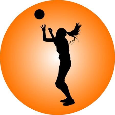 volleyball girl player. women group play volleyball Ilustracja