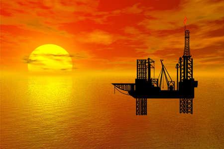 exploitation: oil drilling platform illustration
