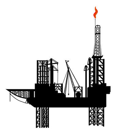 oil platform: oil drilling platform Illustration