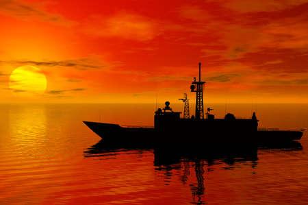 battleship: battleship silhouette with sunset behind Stock Photo