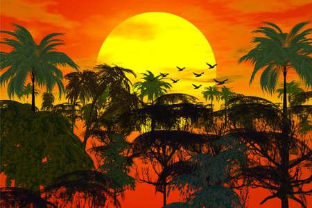 savagery: sunset over jungle