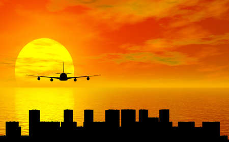 boing: sunset with airplane and city silhouette Stock Photo