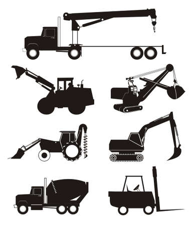 digger: industry truck and vehicle silhouette