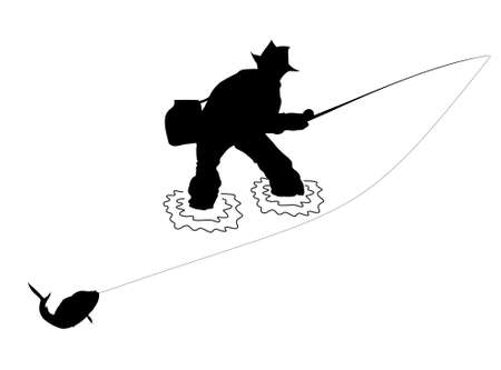 catch of fish: fisherman silhouette vector file