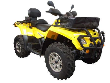yellow quadbike isolated Stock Photo