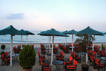 dusk over beach cafe photo