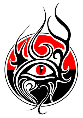tribal tattoo with snake eye vector