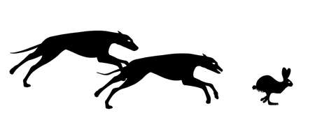 greyhound hunting rabbit Illustration