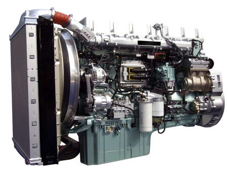truck engine: heavy truck engine isolated Stock Photo