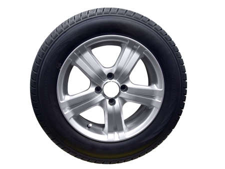 tire with aluminum wheel rim isolated photo