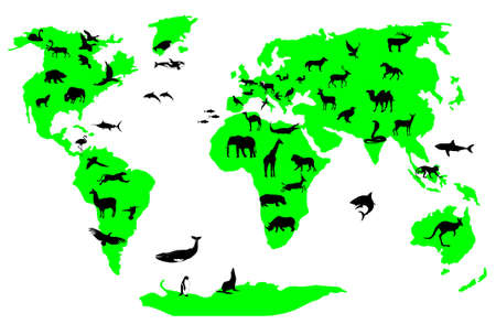 asia deer: wild animal world vector file
