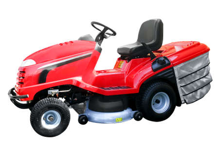 mow: red lawnmower isolated