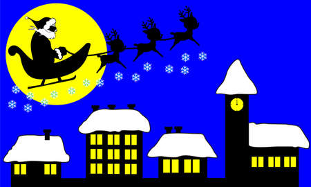 santa flying over houses vector Vector