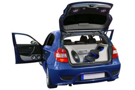 stereo: voiture avec le syst�me audio de puissance isol� Banque d'images