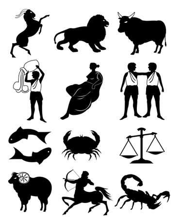 zodiac sign black silhouette vector