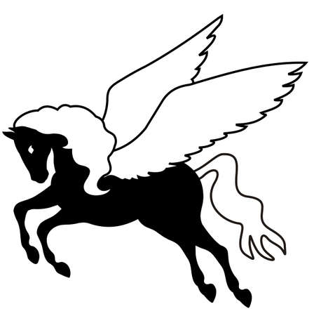 ancient creature: pegasus black silhouette vector
