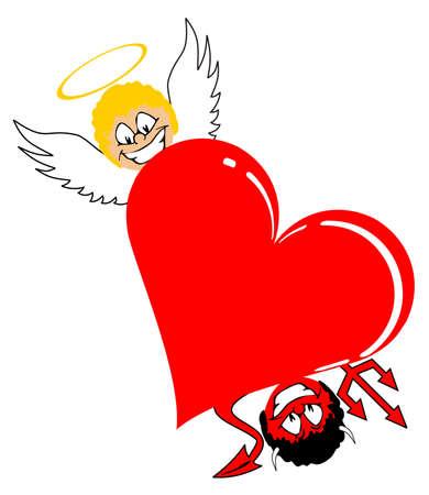 jealousy: heart with angel and devil valentine vector illustration Illustration