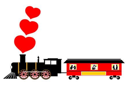 gentillesse: love train valentine illustration vectorielle